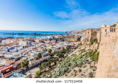 beautiful view of the city of Almeria Spain from the Alcazaba on a wonderful sunny day with blue sky with a few white clouds