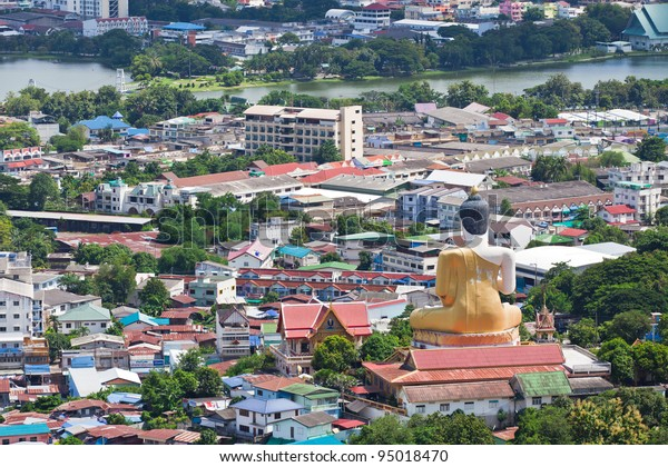 Beautiful view of the city of Nakhon Sawan Province, Thailand.