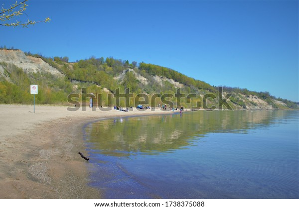 The beautiful view of the cliffs and Lake Ontario when you are in Bluffer's Park in the east side of the City of Toronto.