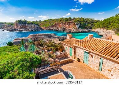 Beautiful view of the coast from Majorca island and beach Cala S Almunia, Spain Mediterranean Sea.