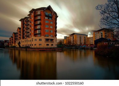 The beautiful view of coastline of the canal in Reading in England.