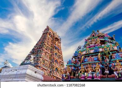 Beautiful view of colorful gopura in the Hindu Kapaleeshwarar Temple,chennai, Tamil Nadu, South India ( sign in the building name om )