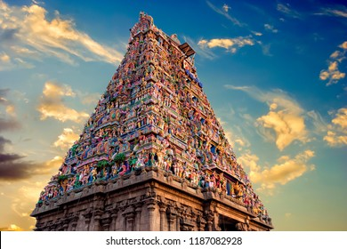 Beautiful view of colorful gopura in the Hindu Kapaleeshwarar Temple,chennai, Tamil Nadu, South India ( sign in the board is om sign in local )