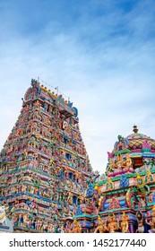 Beautiful view of colorful gopura in the Hindu Kapaleeshwarar Temple,chennai, Tamil Nadu, South India