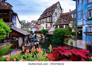 Beautiful view of colorful romantic city Colmar, France, Alsace . Europe June 2020