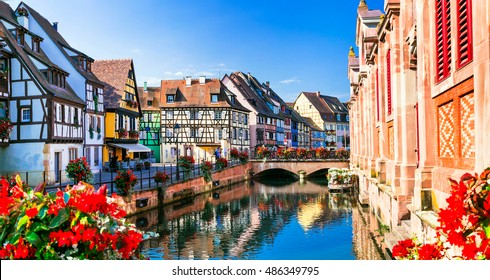 Beautiful view of colorful romantic city Colmar, France, Alsace