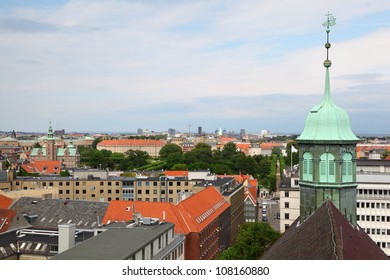 Beautiful view of Copenhagen city from Rundetorn Tower, Denmark.
