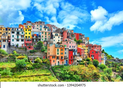 Beautiful view of Corniglia .Is one of five famous colorful villages of Cinque Terre National Park in Italy, suspended between sea and land on sheer cliffs. Liguria region of Italy,Europe