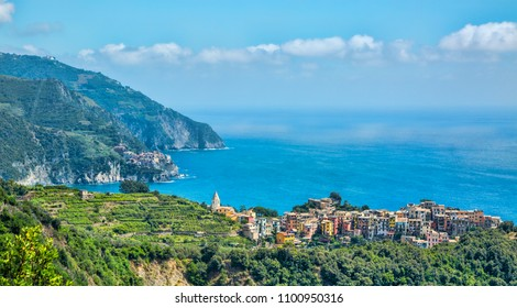 Beautiful view of the Corniglia village from the famous Cinque Terre on the Italian Riviera.