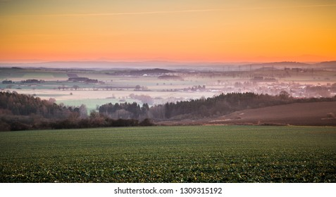 Beautiful view of the countryside at sunset in a village in Central Bohemia