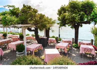 Beautiful view of cozy restaurant on Lake Como, Italy
