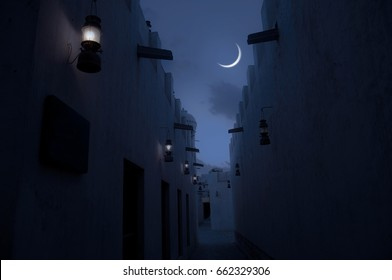 Beautiful view of crescent through a narrow passage of an old Islamic architecture. An Eid moon sighting image.