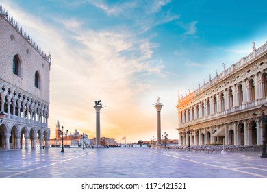 Beautiful view of the Doge's Palace, the Marcian Library, the column of Saint Mark and Saint Theodore and the Piazza San Marco in Venice, Italy