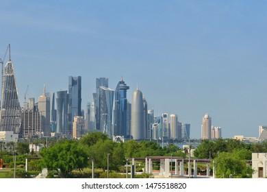 Beautiful view of Doha Downtown from Al Bidda Park in Doha, Qatar -08/10/2019