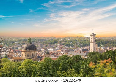 Beautiful view of the Dominican Cathedral, the Assumption Church and the historic center of Lviv, Ukraine, on a sunny day