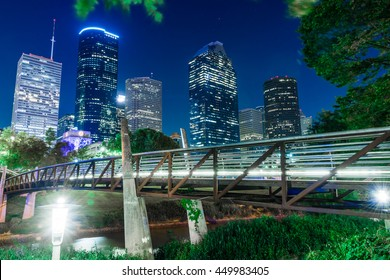 A beautiful view of downtown Houston USA in summer night
