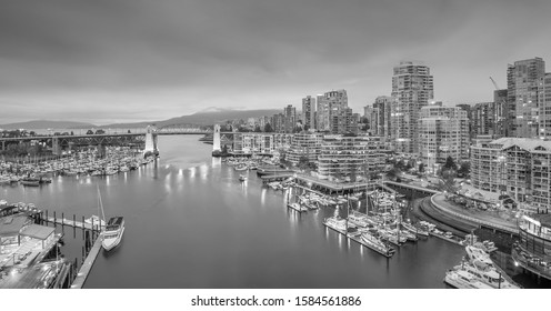 Beautiful view of downtown Vancouver skyline, British Columbia, Canada at sunset