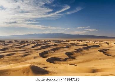 Beautiful view of the dunes of the Gobi Desert. Mongolia.