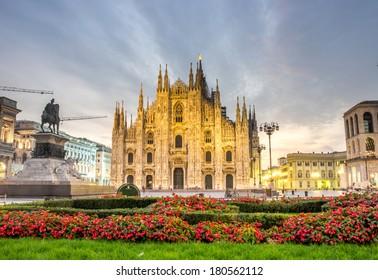 beautiful view of Duomo cathedral,Milan