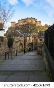 A beautiful view of Edinburgh Castle from Vennel in Edinburgh, Scotland,UK