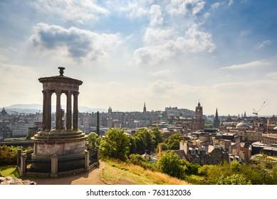 Beautiful view of Edinburgh city from Calton Hill, Scotland
