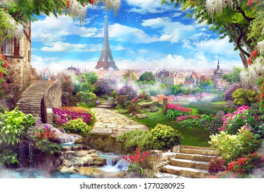 Beautiful view of the Eiffel Tower with access to the garden, with old houses, flowers and waterfalls. Digital collage, mural and mural. Wallpaper. Poster design. Modular panel.