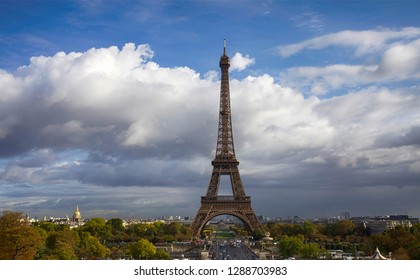 Beautiful view of the Eiffel Tower in Paris and clouds in the sky