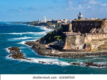 Beautiful view of El Morro, historical ruins in San Juan, Puerto Rico