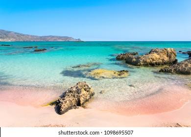 Beautiful view of Elafonisi Beach, Chania. The amazing pink beach of Crete