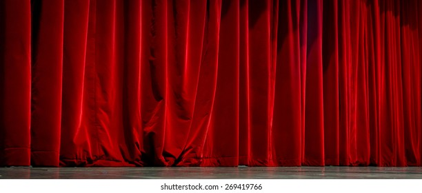 Beautiful view of elegant traditional theatre curtain