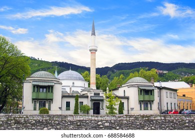 Beautiful view of the Emperor's Mosque in Sarajevo on the banks of the Milyacka River, Bosnia and Herzegovina