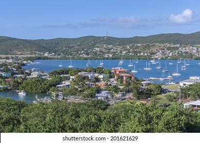 Beautiful view of Ensenada Honda bay and town of Dewey on Puerto Rican island of Isla Culebra in the Caribbean Sea