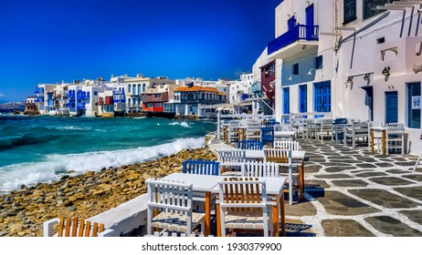 Beautiful view of fabulous, picturesque Mykonos island in Greece.