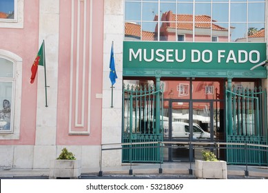 beautiful view to Fado museum inaugurated in 1998 in Lisbon, Portugal (blue sky background)