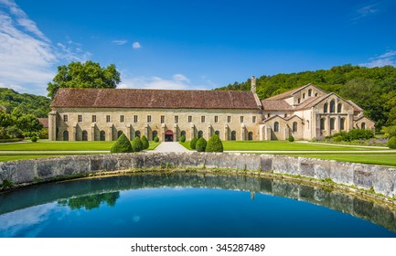 Beautiful view of famous Cistercian Abbey of Fontenay, a UNESCO World Heritage Site since 1981, in the commune of Marmagne, Burgundy, France