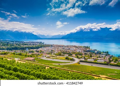 Beautiful view of the famous city of Vevey with rows of vineyard terraces in famous Lavaux wine region, overlooking the northern shores of Lake Geneva near Lausanne, Canton of Vaud, Switzerland