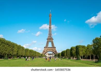 Beautiful view of famous Eiffel Tower in Paris, France. Paris Best Destinations in Europe.