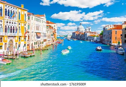 Beautiful view of famous Grand Canal in Venice, Italy