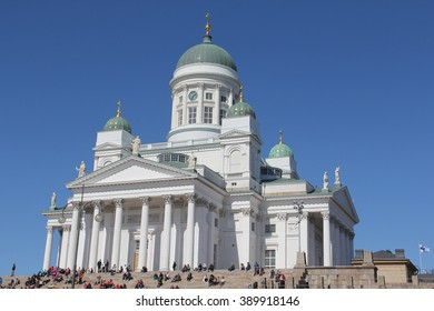 Beautiful view of famous Helsinki Cathedral. Large amount of people gathered on the stairs in front of the Dome Church in Helsinki, Finland, during Vappu.
