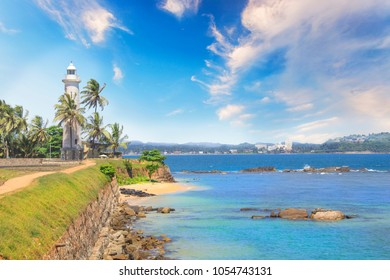 Beautiful view of the famous lighthouse in Fort Galle, Sri Lanka, on a sunny day