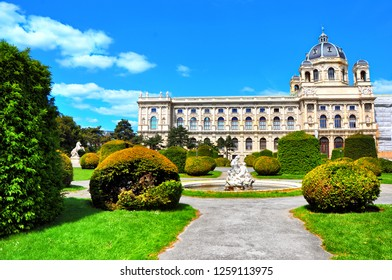 Beautiful view of famous Naturhistorisches Museum (Natural History Museum) with fountain and park Maria-Theresien-Platz in Vienna, Austria.