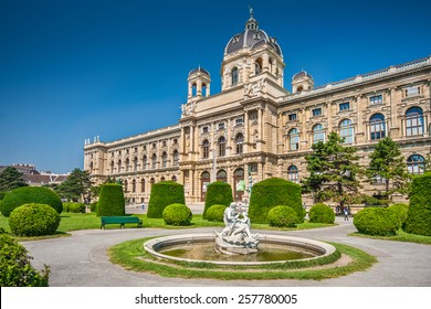Beautiful view of famous Naturhistorisches Museum (Natural History Museum) with park and sculpture in Vienna, Austria