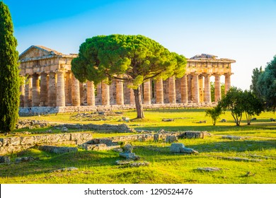 Beautiful view of famous Paestum Temples Archaeological UNESCO World Heritage Sitein in scenic golden evening light at sunset, Province of Salerno, Campania, Italy