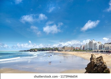 Beautiful view of famous sand beaches - La Grande Plage and Miramar. Blue sky and ocean. Bay of Biscay, Atlantic coast, Basque country, Biarritz, France.