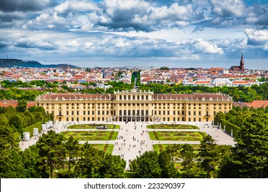 Beautiful view of famous Schonbrunn Palace with Great Parterre garden in Vienna, Austria