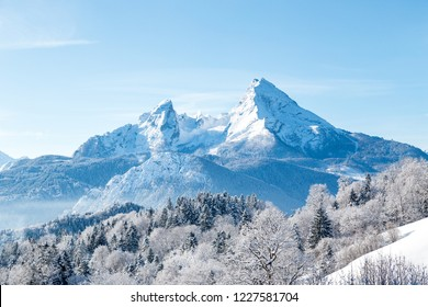 Beautiful view of famous Watzmann mountain peak on a cold sunny day in winter, Bavaria, Germany