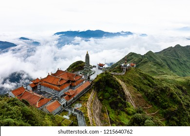 Beautiful view from Fansipan mountain with a Buddhistic temple. Sa Pa, Lao Cai Province, Vietnam.