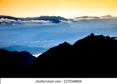 Beautiful view from Fansipan mountain at sunset. Sa Pa, Lao Cai Province, Vietnam.