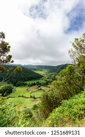 Beautiful view of farmland on the valley floor of the Sete Cidades caldera on Sao Miguel, Azores.