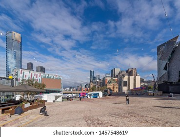 Beautiful view of Federation Square in the city center of Melbourne, Australia, on a sunny day